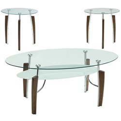 Coaster 3 Piece Round Coffee and End Table Set in Cappuccino