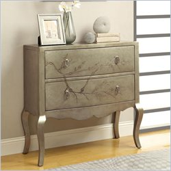 Coaster 2 Drawer Cherry Blossom Tree Cabinet in Golden Silver