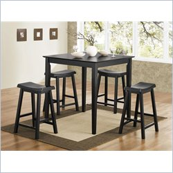 Coaster Yates 5 Piece Counter Height Dining Set in Black