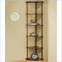 Coaster Corner Bookshelf with 5 Shelves in Cherry