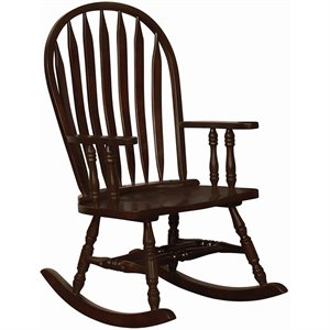 Coaster Traditional Wood Rocking Chair in Cappuccino