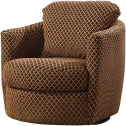 Coaster Swivel Diamond Pattern Upholstered Chair in Brown