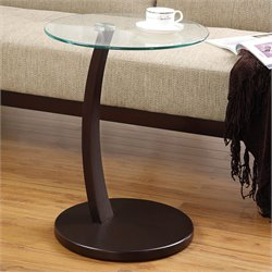 Coaster Accent Table with Round Glass Table Top in Dark Brown