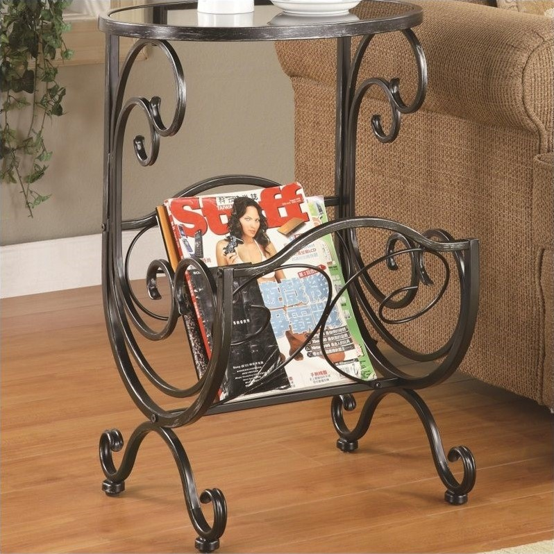 Metal and Glass Side Table with Magazine Rack in Gun Metal