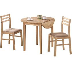 Coaster Dinettes Casual 3 Piece Table and Chair Set in Natural