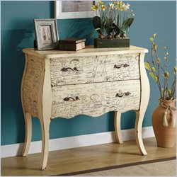 Coaster Antique Scripted Case Accent Cabinet in White