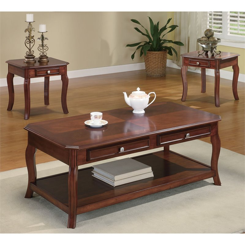 Coaster 3 Piece Coffee Table Set In Warm Light Bourbon