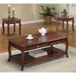 Coaster 3 Piece Occasional Table Set with Parquet Top in Cherry