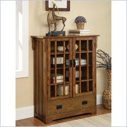 Coaster 2 Door Curio Cabinet in Distressed Warm Brown Oak