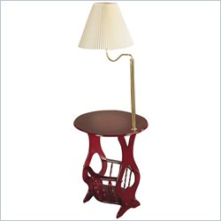 Coaster Magazine Table with Brass Swing Arm Lamp in Cherry