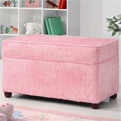 Coaster Youth Upholstered Storage Bench in Pink