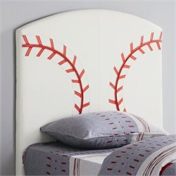 Coaster Youth Headboards Twin Sports Baseball Panel Headboard in White