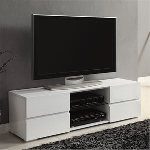 Coaster High Gloss TV Stand with Glass Shelf in White