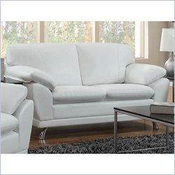 Coaster Robyn Bonded Leather Loveseat in White