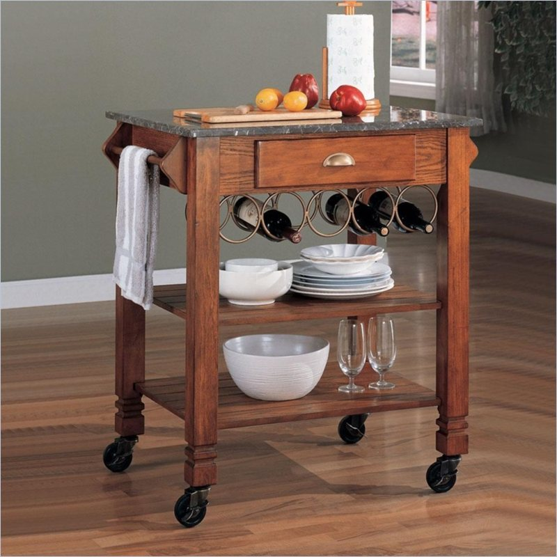Granite Top Kitchen Cart with Wine Storage in Oak