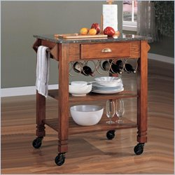 Coaster Granite Top Kitchen Cart with Wine Storage in Oak