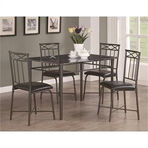 Coaster Dinettes 5 Piece  Dining Set with Leg Table in Dark Metal