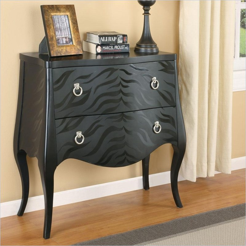 Animal Print Accent Cabinet in Black
