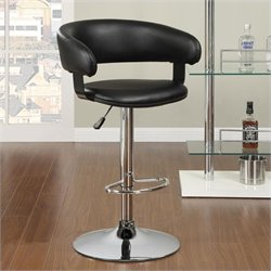 Coaster Adjustable Rounded Back Bar Stool in Black