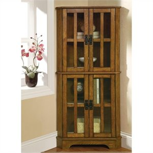 Coaster 4 Shelf Corner Curio Cabinet in Warm Brown Oak