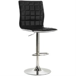 Coaster Adjustable Waffle Bar Stool in Black