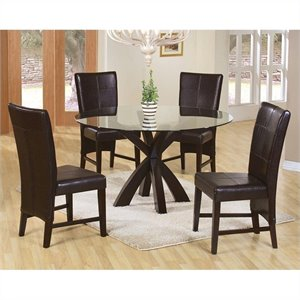Coaster Shoemaker 5 Piece Round Dining Set in Cappuccino