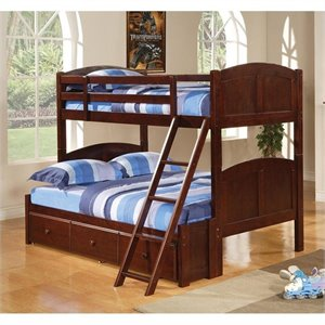 Coaster Parker Twin Over Full Panel Bunk Bed in Brown Cherry