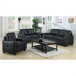 Coaster Jasmine 3 Piece Leather Sofa Set in Black