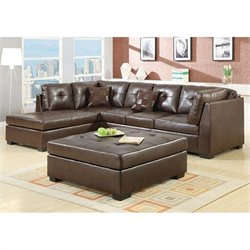 Coaster Darie Leather Sectional Sofa with Ottoman in Brown