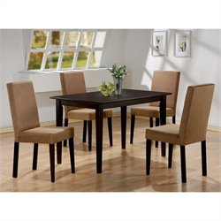 Coaster Dining Table and 4 Microfiber Side Chairs in Cappuccino