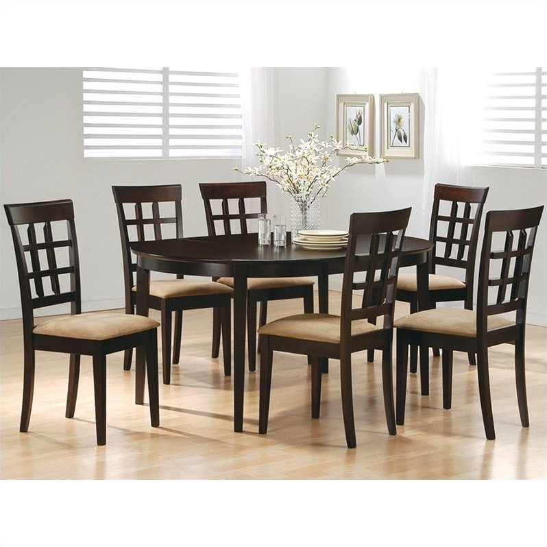 Oval Dining Table and 6 Wheat Back Chairs in Cappuccino