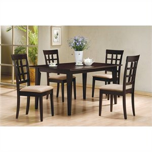 Coaster Dining Table and 4 Wheat Back Chairs in Cappuccino