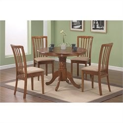 Coaster Casual 5 Piece Microfiber Upholstery Dinette Set in Warm Maple