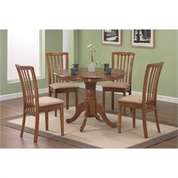 Coaster Casual 5 Piece Microfiber Upholstery Dinette Set in Oak
