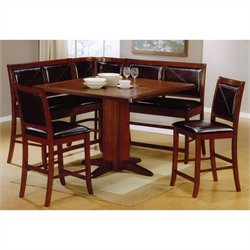 Coaster Casual Counter Height Breakfast Nook in Brown