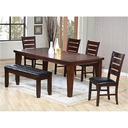 Coaster Casual Dining Table with 4 Side Chairs and Bench in Oak