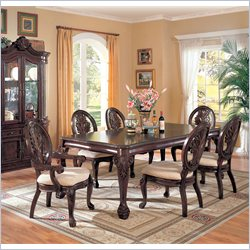 Coaster Tabitha Traditional 8 Piece Dining Set in Dark Cherry