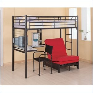 Coaster Max Twin Loft Bunk Bed with Futon Chair and Desk