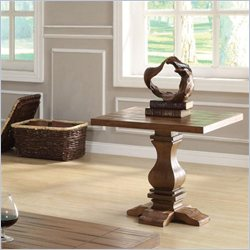 Coaster Occasional Group Traditional Pedestal End Table in Warm Oak