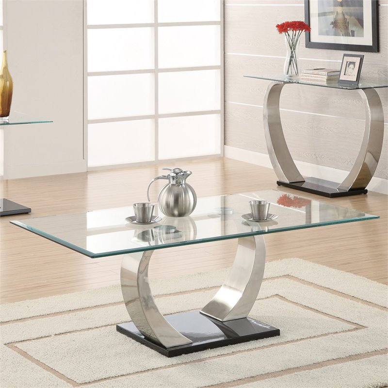 Surprising Coaster Shearwater Glass Top Coffee Table In Silver Camellatalisay Diy Chair Ideas Camellatalisaycom