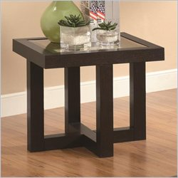 Coaster Occasional Group Contemporary End Table in Rich Black Coffee