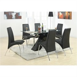 Coaster Ophelia 7 Piece Dining Set with Glass Top X Table in Black