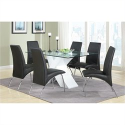 Coaster Ophelia 7 Piece Dining Set in Black and White