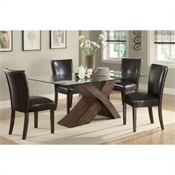 Coaster Nessa X Base Dining Table and 4 Chairs in Deep Brown
