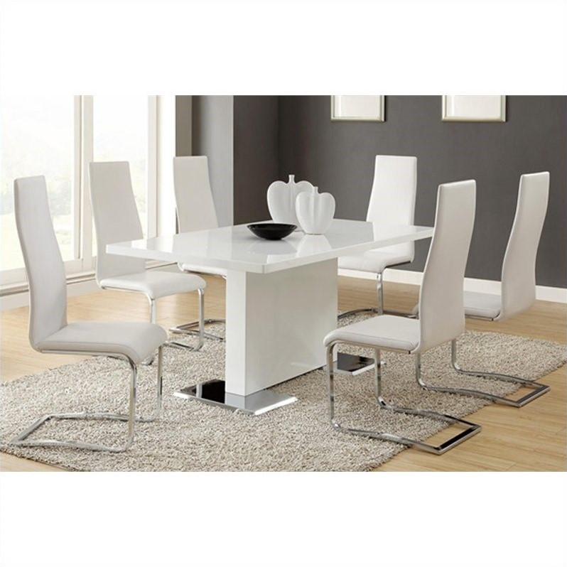 Modern 5 Piece Dining Table and Chairs Set in White