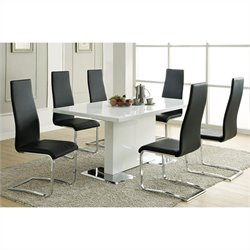 Coaster Modern 5 Piece Dining Table and Chairs Set in White and Black