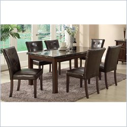 Coaster Milton Marble Top Dining Table and 6 Chairs in Cappuccino