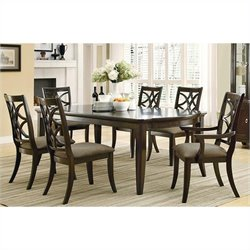 Coaster Meredith 7 Piece Leg Table and Chair Set in Espresso