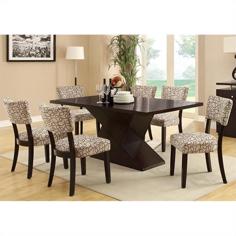 Libby 7 Piece Hourglass Table and Chair Set in Cappuccino