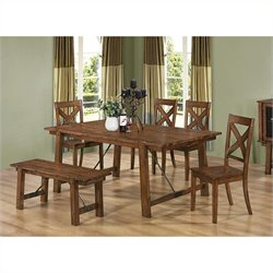 Coaster Lawson 6 Piece Dining Set in Rustic Oak